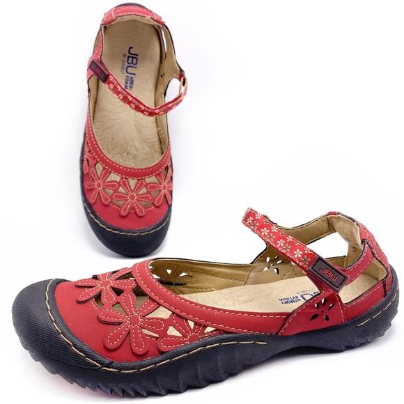 NEW JBU by Jambu Women/'s Wildflower Black Blue Red Mary Jane Flat Shoes 8.5